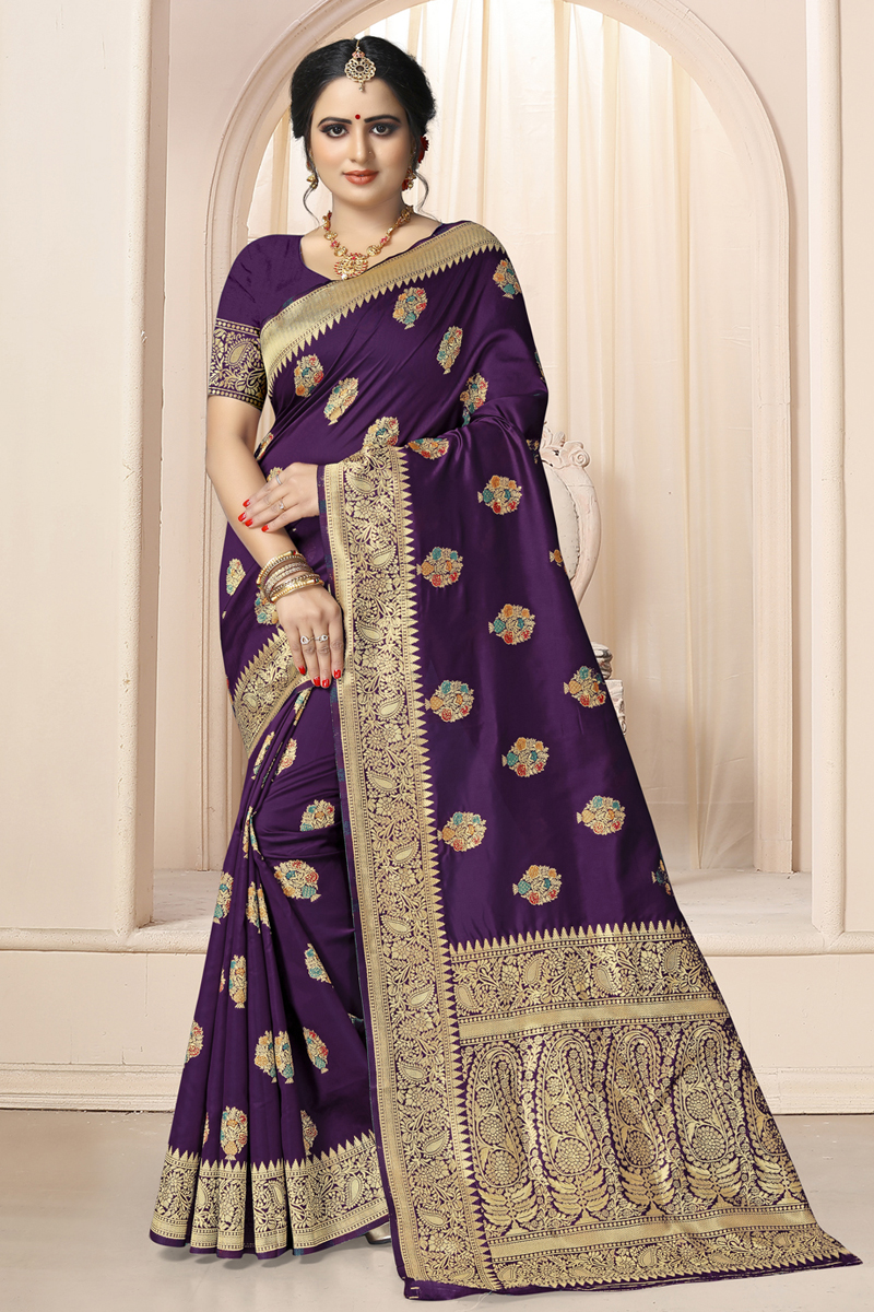 Weaving Work Dark Purple Color Art Silk Fabric Fancy Saree