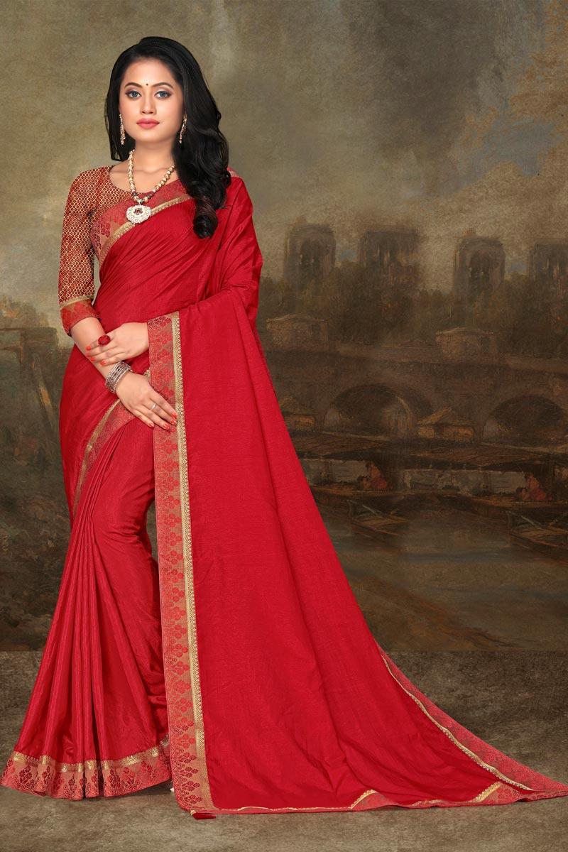 Red Color Festive Wear Art Silk Fabric Elegant Lace Work Saree
