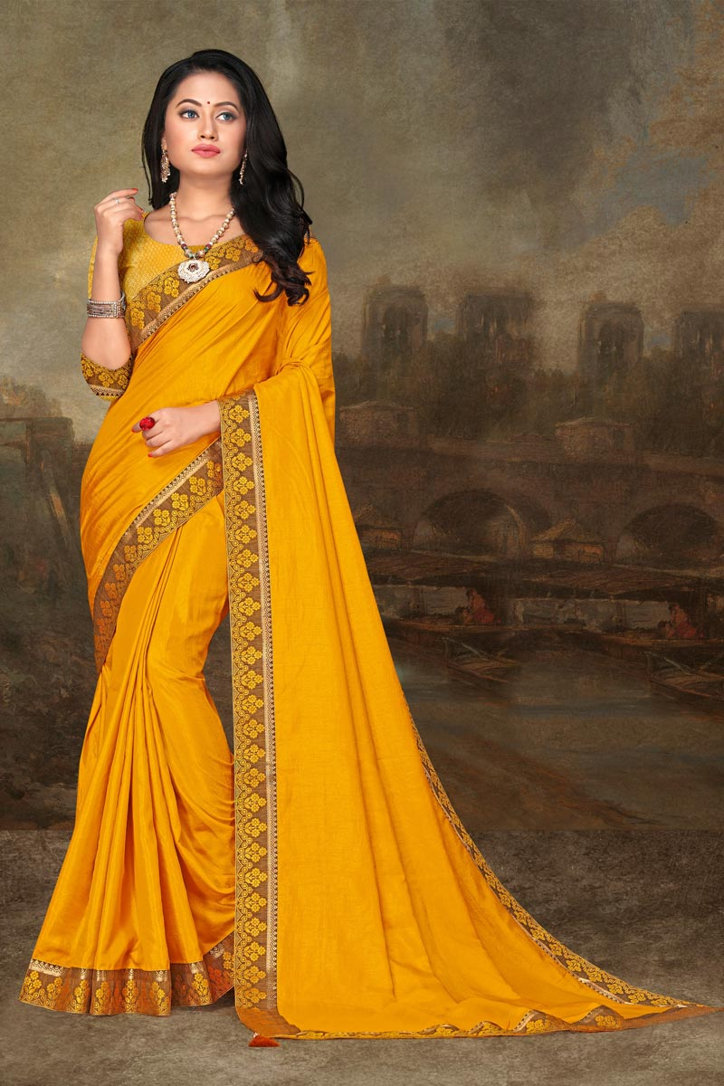 Art Silk Fabric Festive Wear Elegant Yellow Color Lace Work Saree