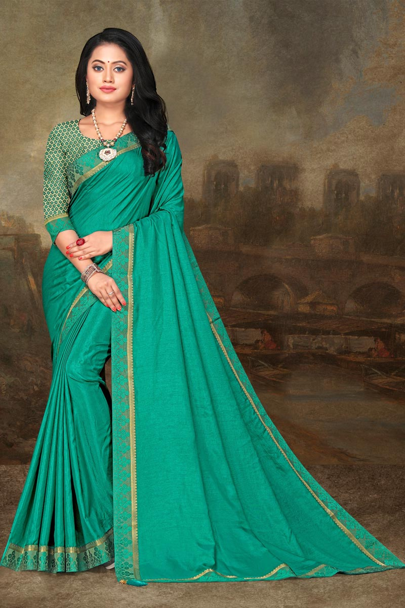 Festive Wear Cyan Color Elegant Art Silk Fabric Lace Work Saree
