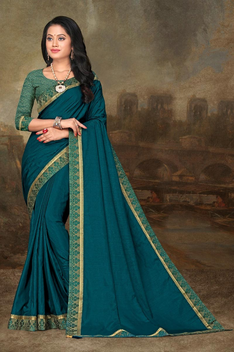 Teal Color Festive Wear Elegant Art Silk Fabric Lace Work Saree
