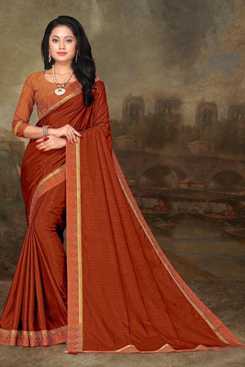 Orange Color Elegant Festive Wear Art Silk Fabric Lace Work Saree