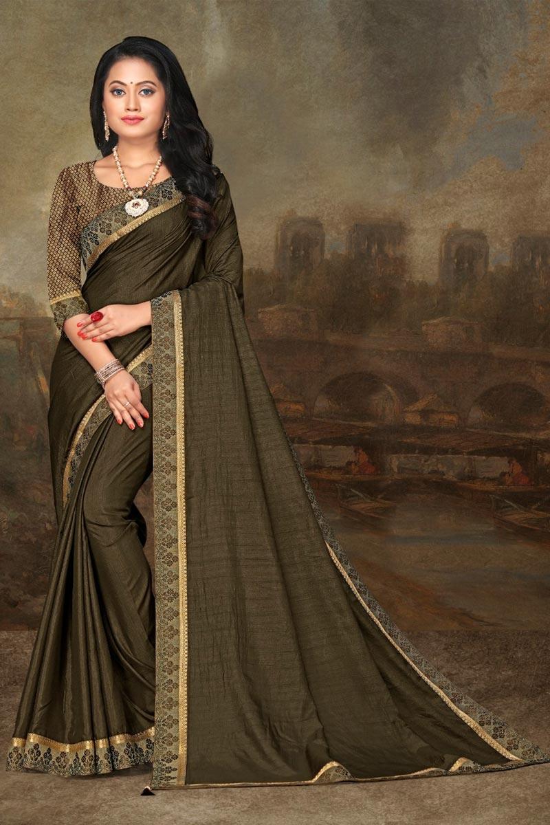 Art Silk Fabric Festive Wear Olive Color Elegant Lace Work Saree