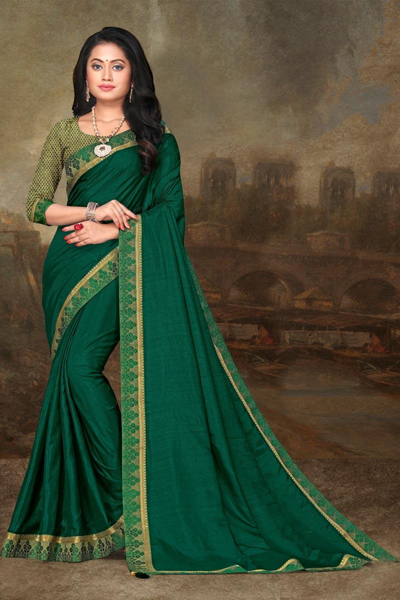 Festive Wear Art Silk Fabric Elegant Green Color Lace Work Saree