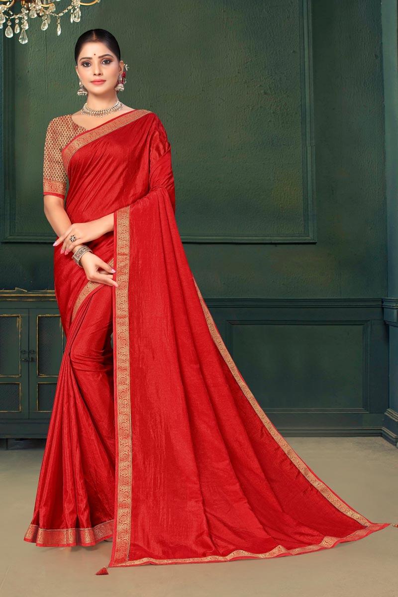 Art Silk Fabric Sangeet Wear Red Color Lace Work Saree