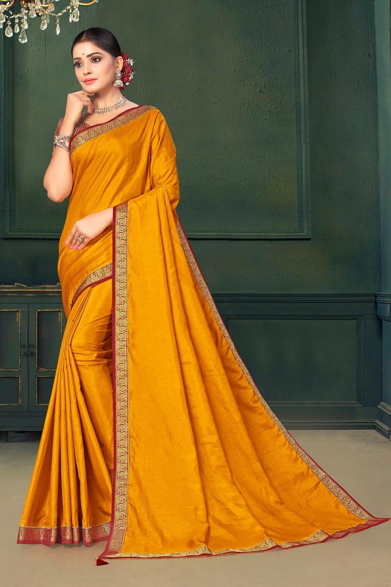 Yellow Color Sangeet Wear Art Silk Fabric Lace Work Saree