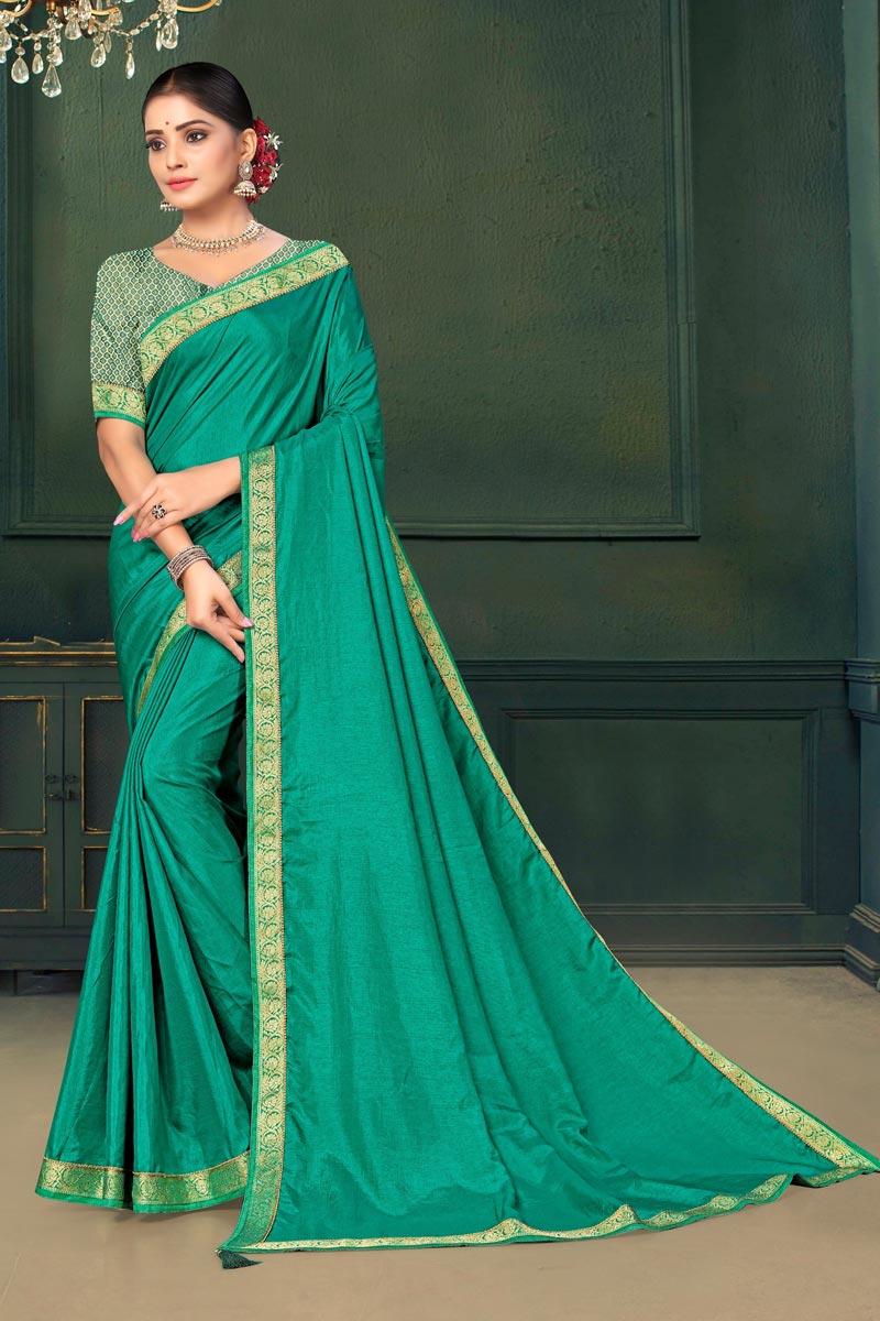Sangeet Wear Cyan Color Lace Work Saree