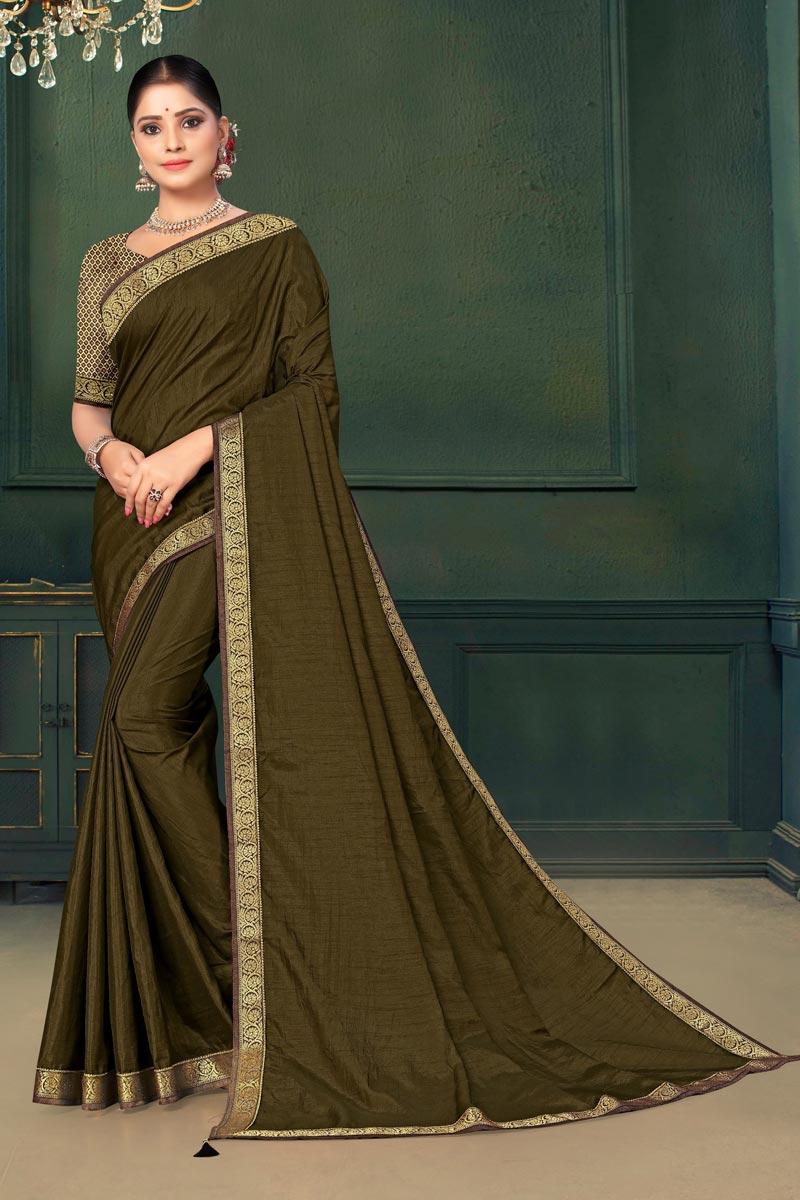 Sangeet Wear Olive Color Art Silk Fabric Lace Work Saree