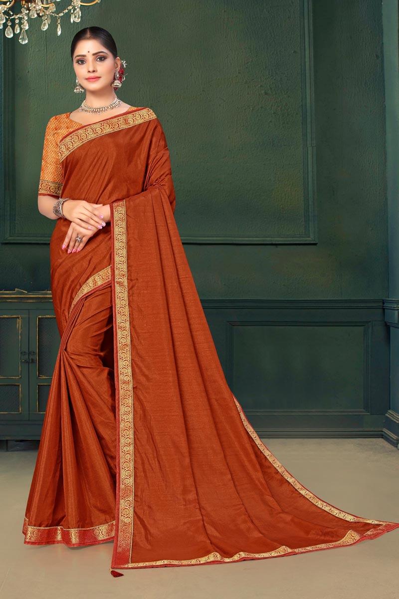 Sangeet Wear Art Silk Fabric Lace Work Saree In Orange Color