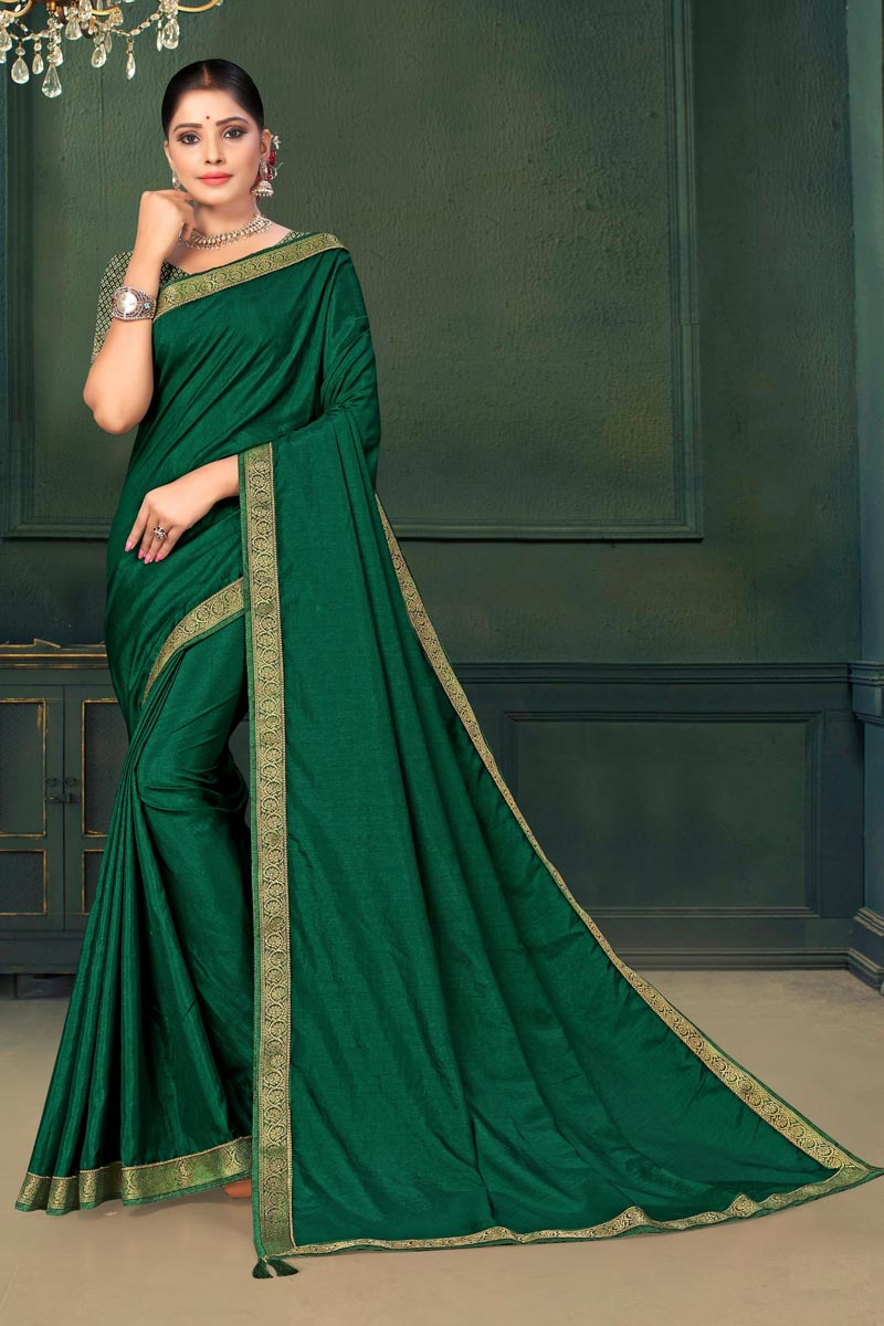 Green Color Art Silk Fabric Lace Work Saree