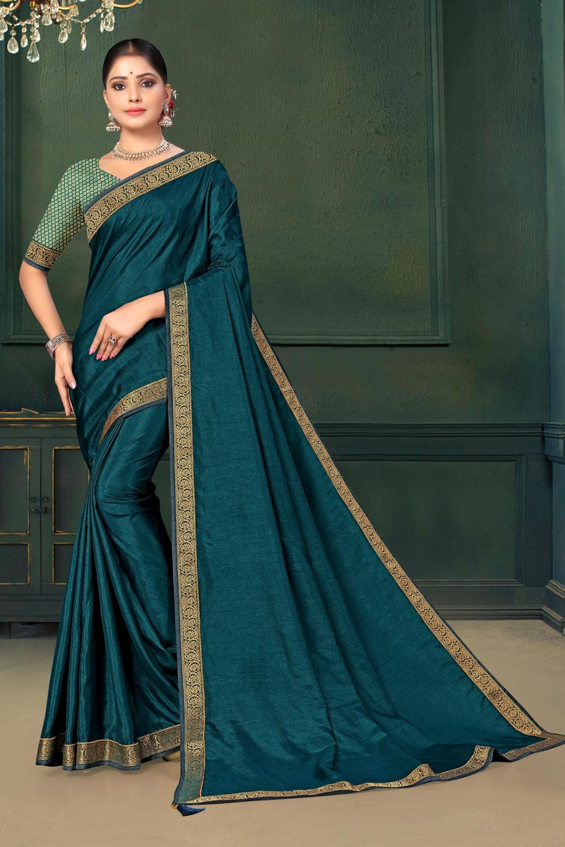 Teal Color Fancy Function Wear Saree In Art Silk Fabric