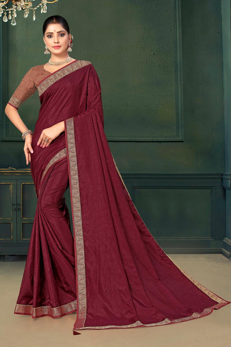Art Silk Fabric Party Wear Saree In Maroon Color