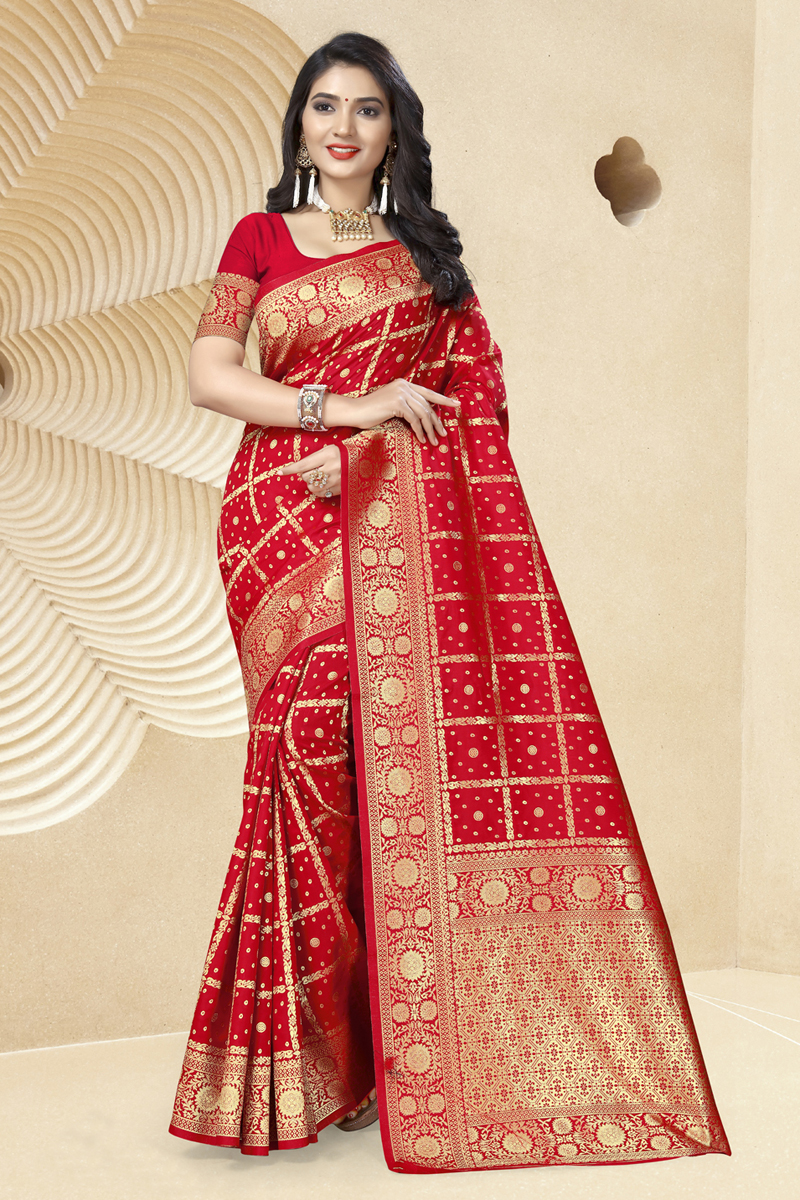 Red Color Designer Saree In Art Silk Fabric