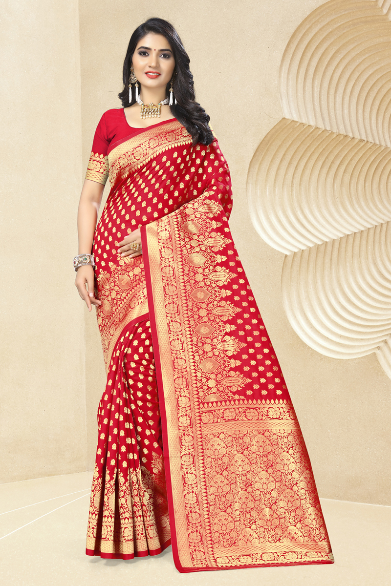 Weaving Work Red Color Traditional Saree In Art Silk Fabric