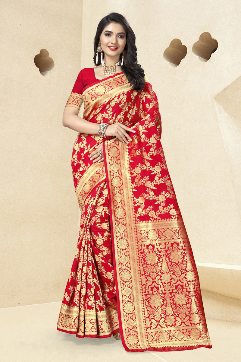 Red Color Art Silk Fabric Saree With Weaving Work