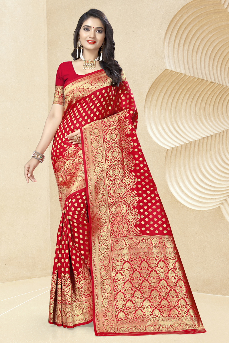 Red Color Traditional Saree In Art Silk Fabric With Weaving Work