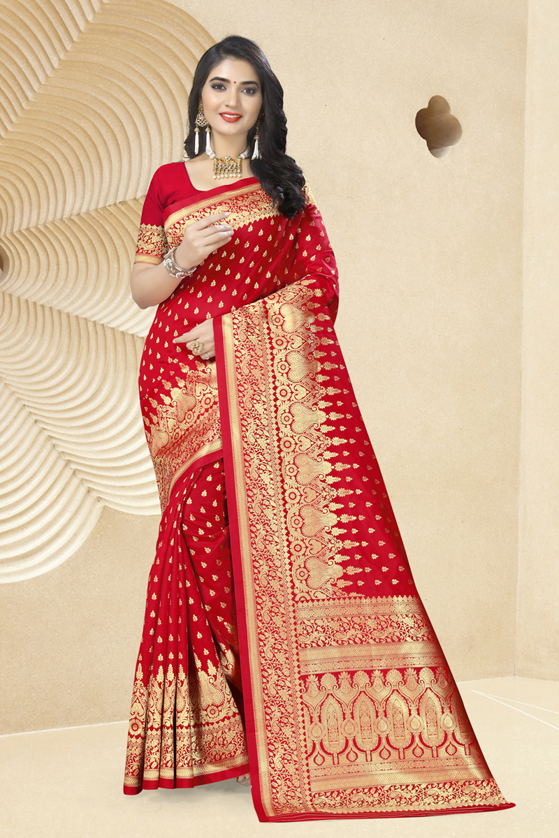 Weaving Work On Red Color Art Silk Fabric Function Wear Saree