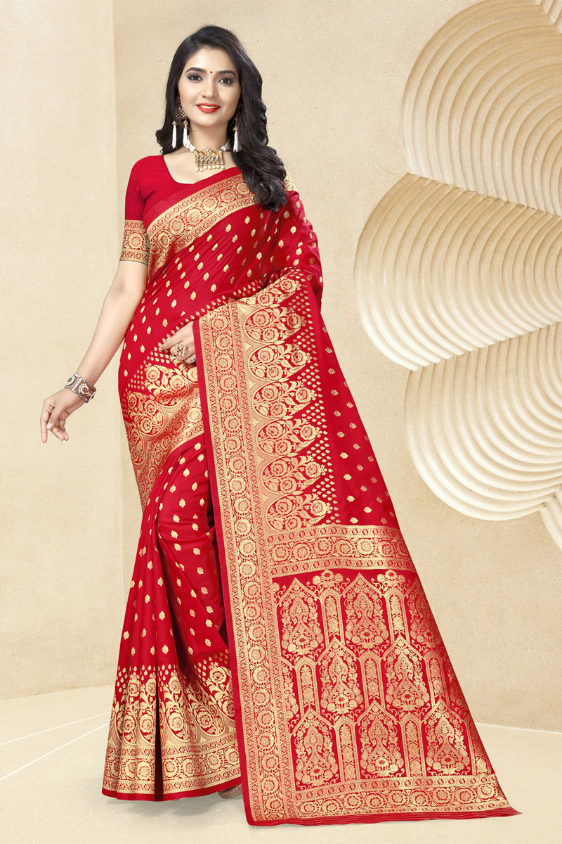 Weaving Work Red Color Fancy Saree In Art Silk Fabric