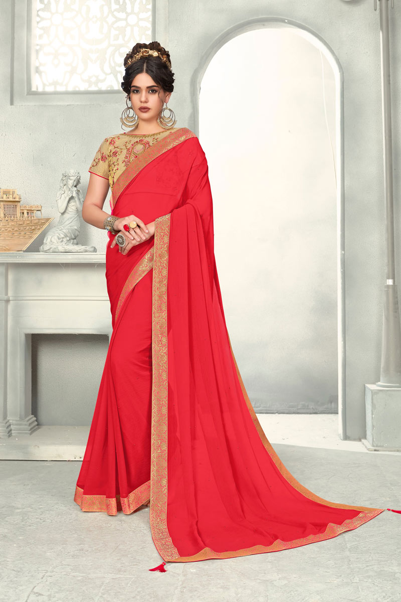 Occasion Wear Chiffon Border Work Saree In Red With And Designer Blouse