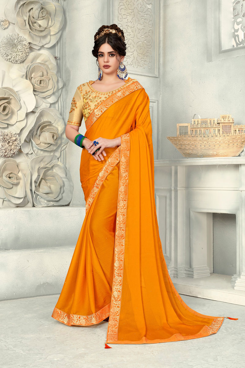Mustard Chiffon Designer Saree With Border Work And Gorgeous Blouse