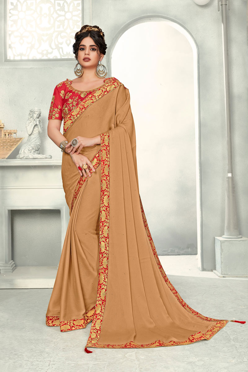 Chiffon Border Work Coffee Party Wear Saree With Attractive Blouse