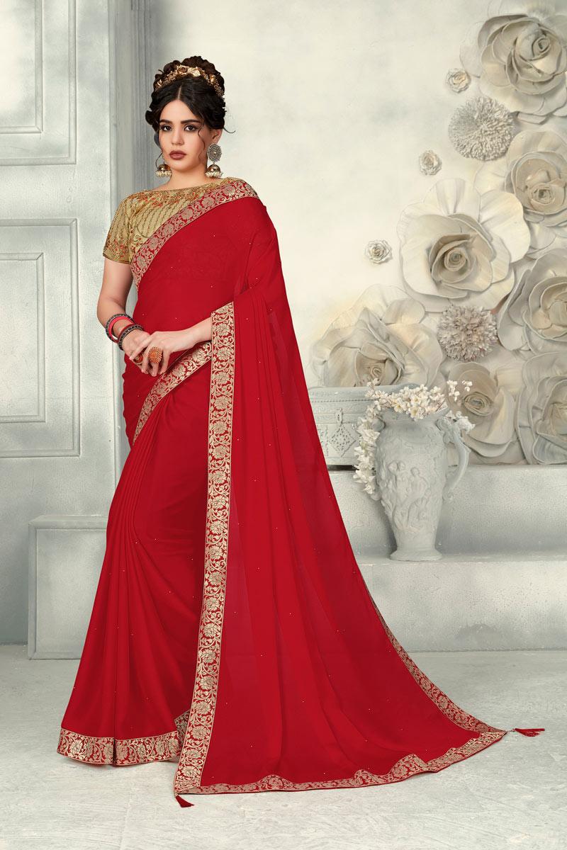 Border Work On Chiffon Red Festive Wear Saree With Designer Blouse