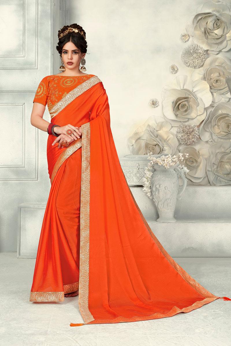 Border Work Orange Chiffon Occasion Wear Saree With Amazing Blouse