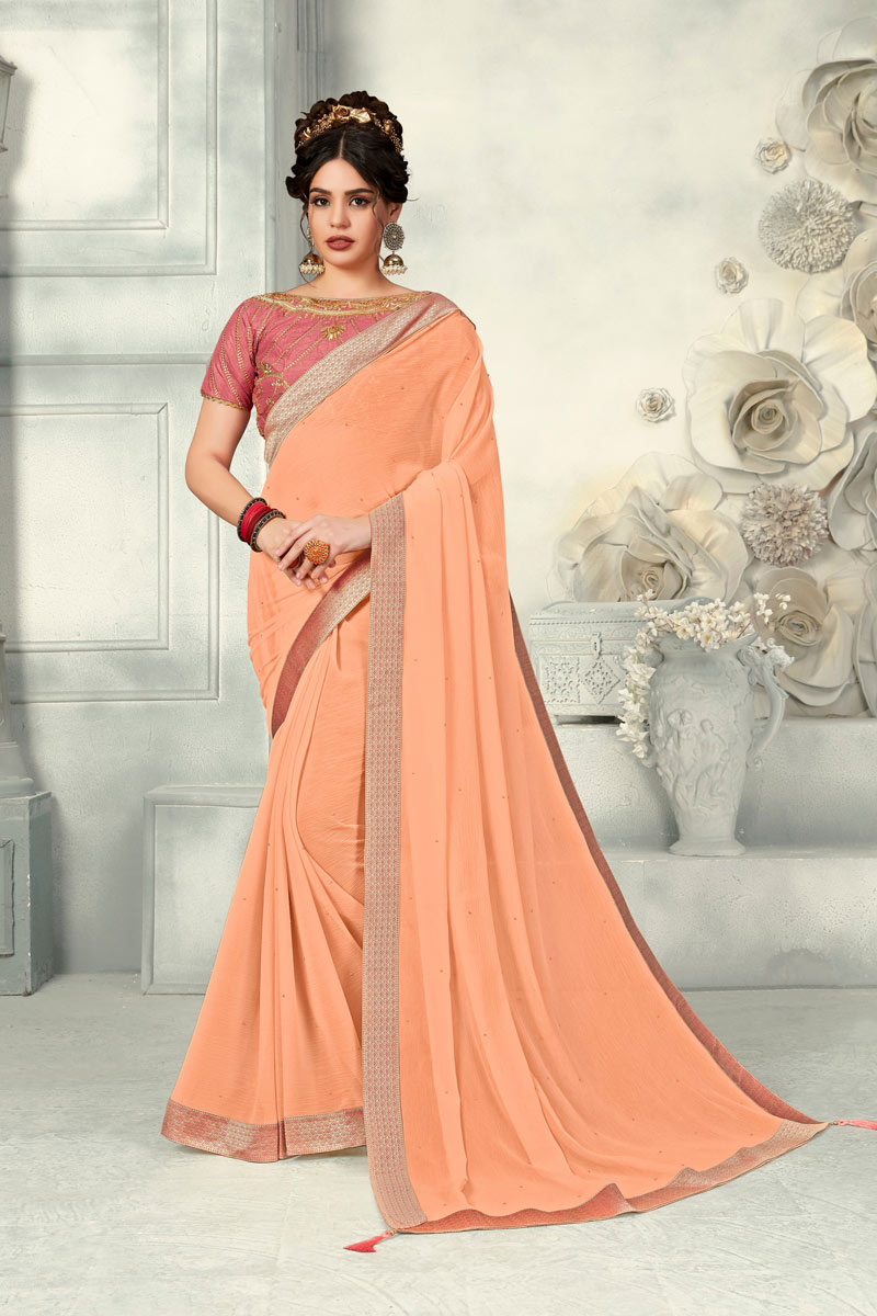 Designer Saree In Chiffon Peach With Border Work And Party Wear Blouse