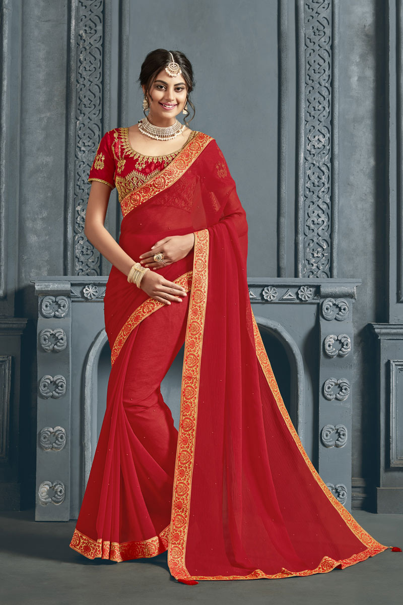 Red Color Chiffon Fabric Wedding Wear Saree With Border Work And Gorgeous Blouse