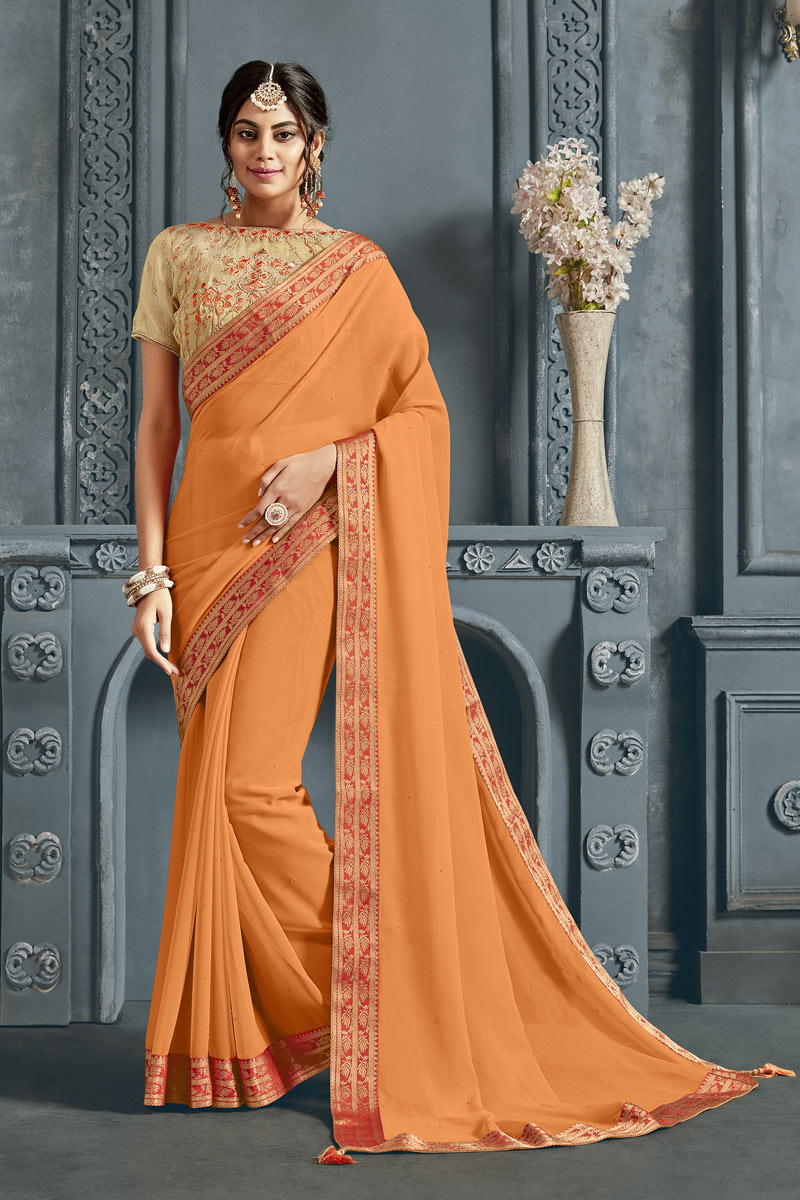 Border Work On Peach Color Designer Saree In Chiffon Fabric With Admirable Blouse