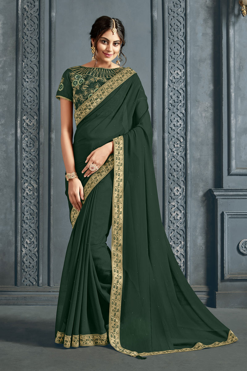 Border Work On Chiffon Fabric Party Wear Saree In Dark Green Color With Beautiful Blouse