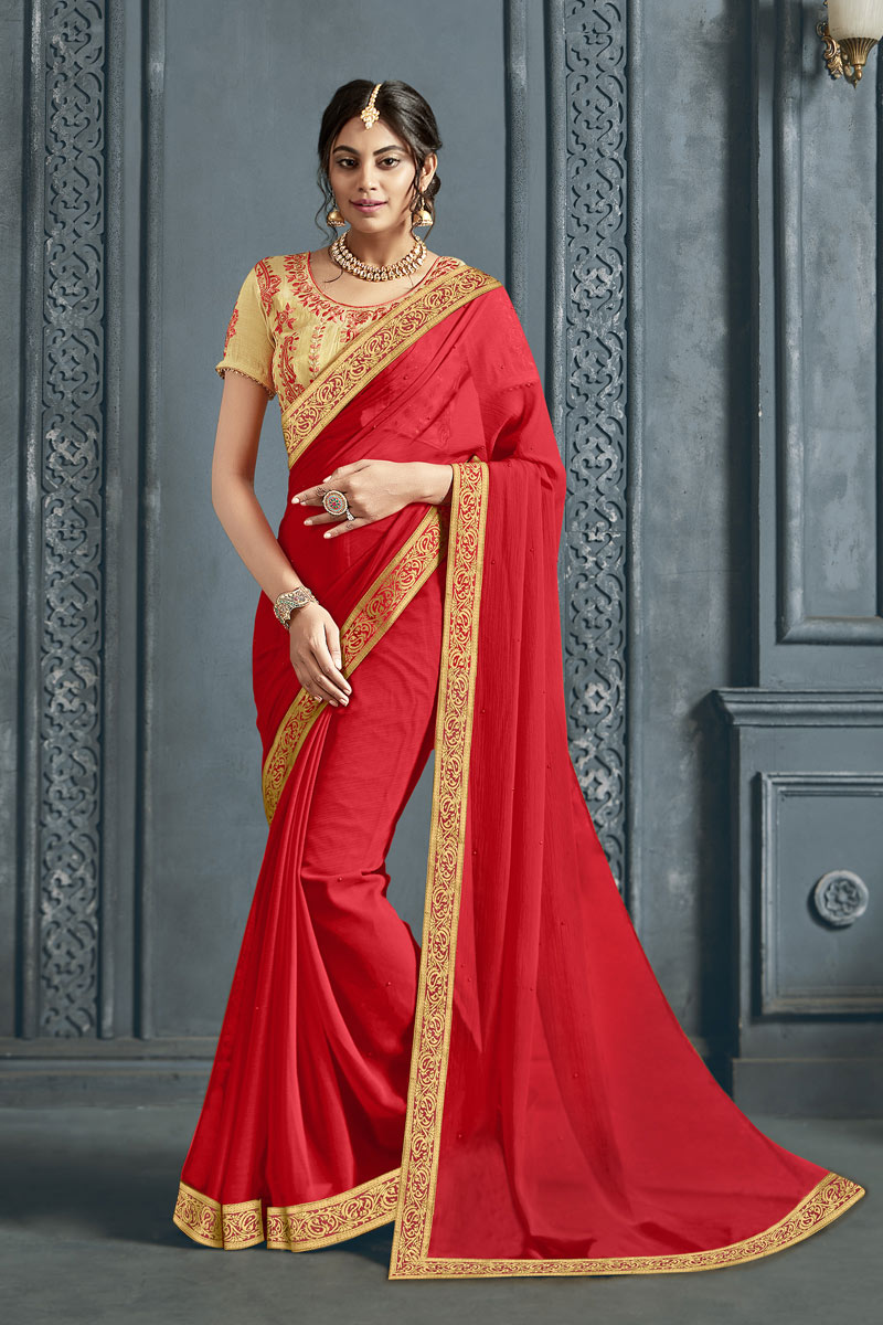 Red Color Designer Saree In Chiffon Fabric With Border Work Designs And Attractive Blouse