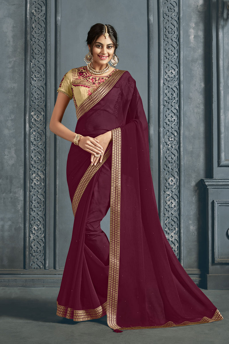 Chiffon Fabric Maroon Color Occasion Wear Saree With Border Work And Designer Blouse