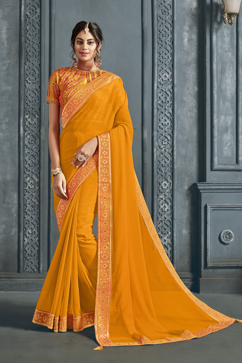 Function Wear Chiffon Fabric Border Work On Saree In Yellow Color With Alluring Blouse