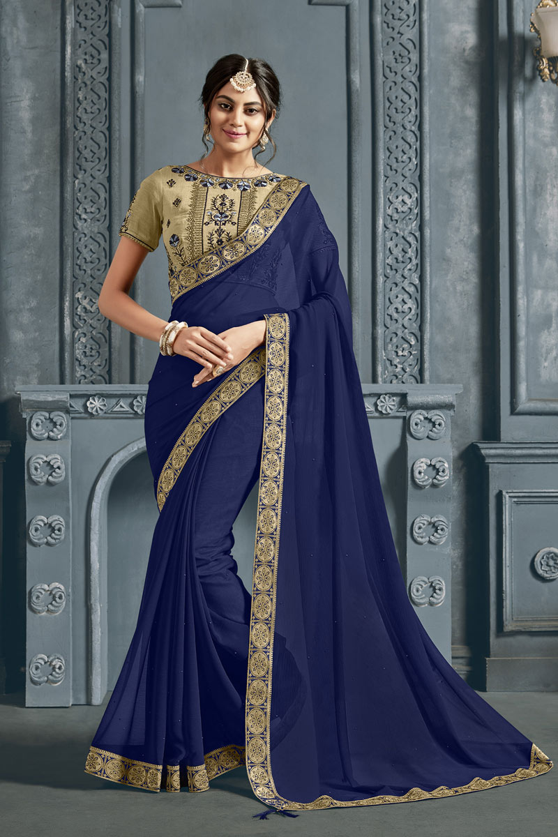 Border Work Designs On Chiffon Fabric Navy Blue Color Party Wear Saree With Mesmerizing Blouse