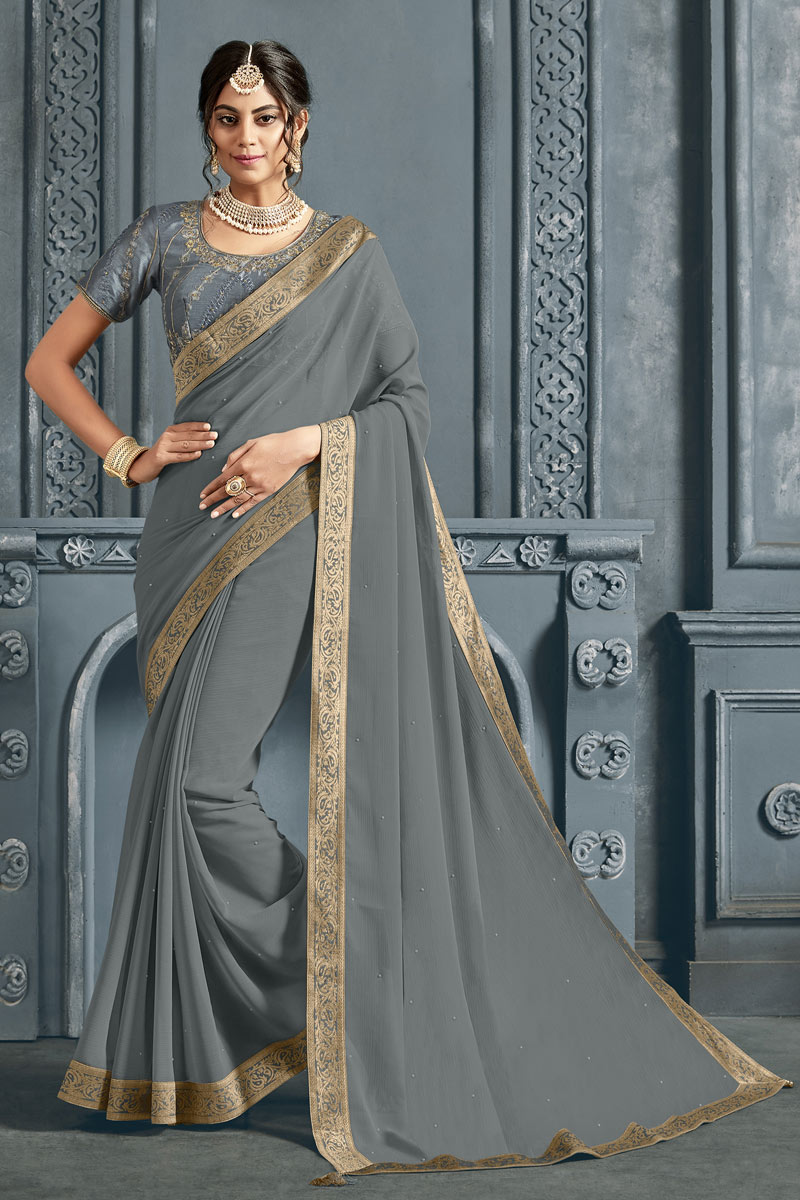 Grey Color Chiffon Fabric Designer Saree With Border Work And Party Wear Blouse