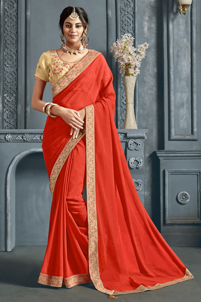 Chiffon Fabric Border Work On Red Color Occasion Wear Saree With Enchanting Blouse