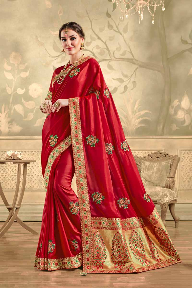 Party Style Elegant Art Silk Fabric Embroidered Red Color Saree