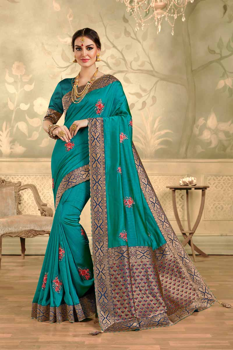 Art Silk Fabric Elegant Party Style Cyan Color Embroidered Saree