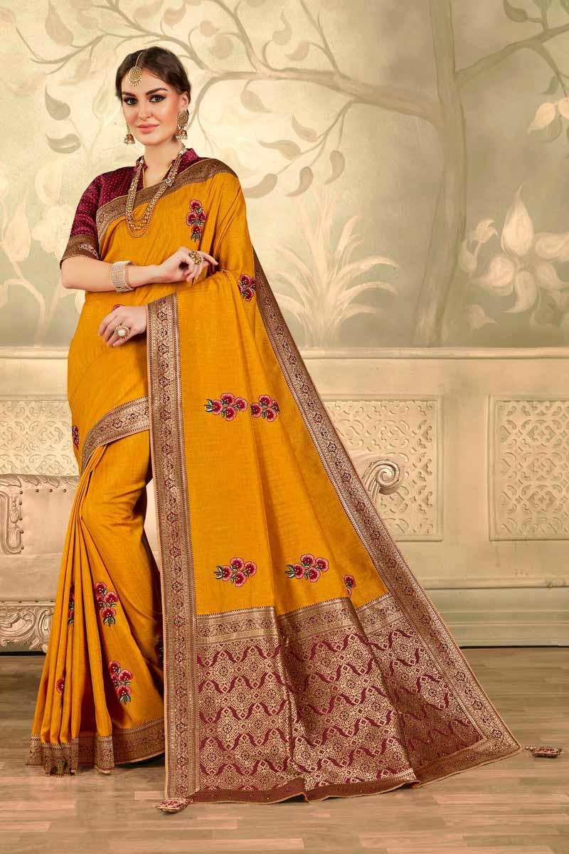 Mustard Color Party Style Art Silk Fabric Elegant Embroidered Saree