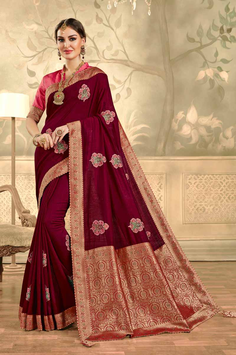 Party Style Burgundy Color Elegant Embroidered Saree In Art Silk Fabric
