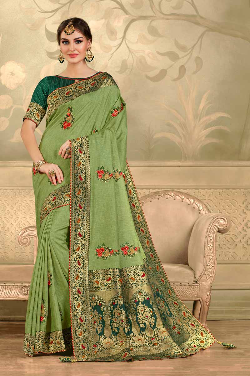 Sea Green Color Elegant Party Style Art Silk Fabric Embroidered Saree