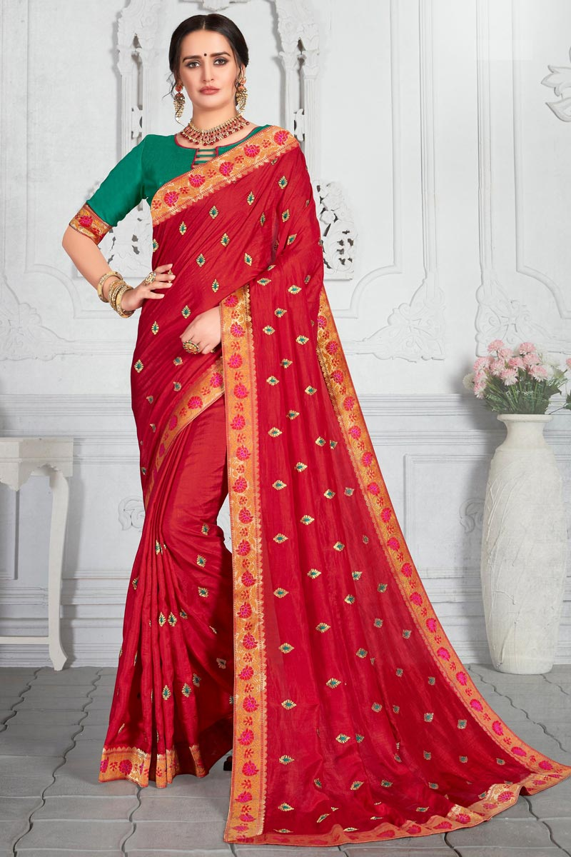 Red Color Designer Saree With Embroidery Work
