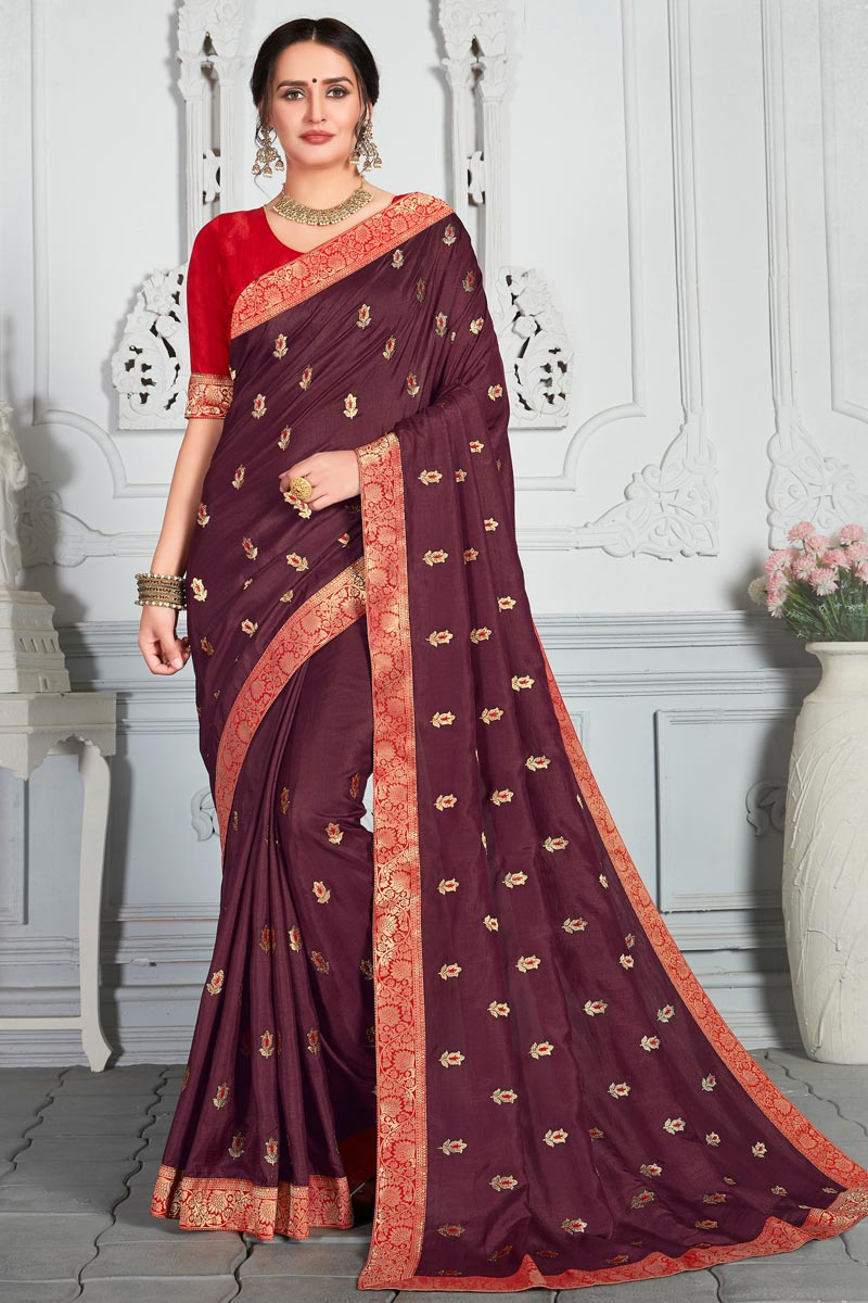 Embroidery Work Wine Color Art Silk Fabric Function Wear Saree