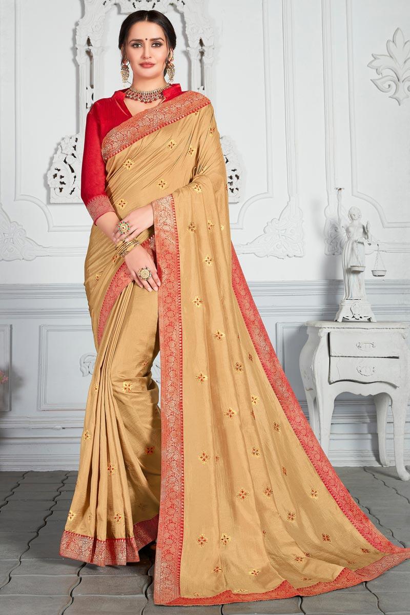 Art Silk Fabric Cream Color Designer Saree With Embroidery Work