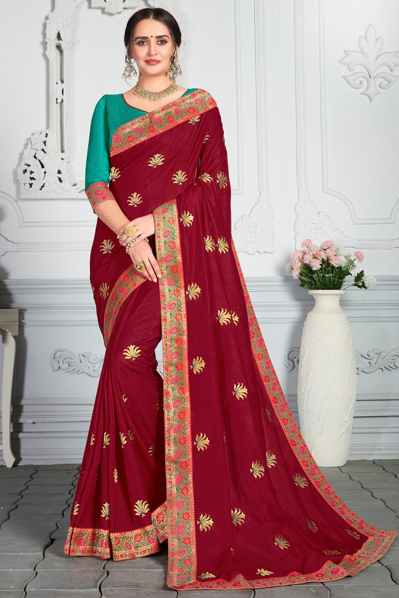 Art Silk Fabric Designer Saree In Maroon Color With Embroidery Work