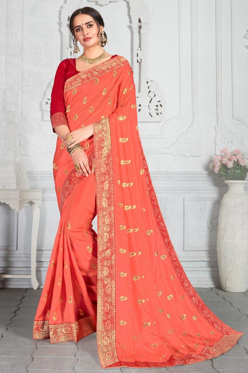 Fancy Embroidery Work Salmon Color Art Silk Fabric Sangeet Wear Saree