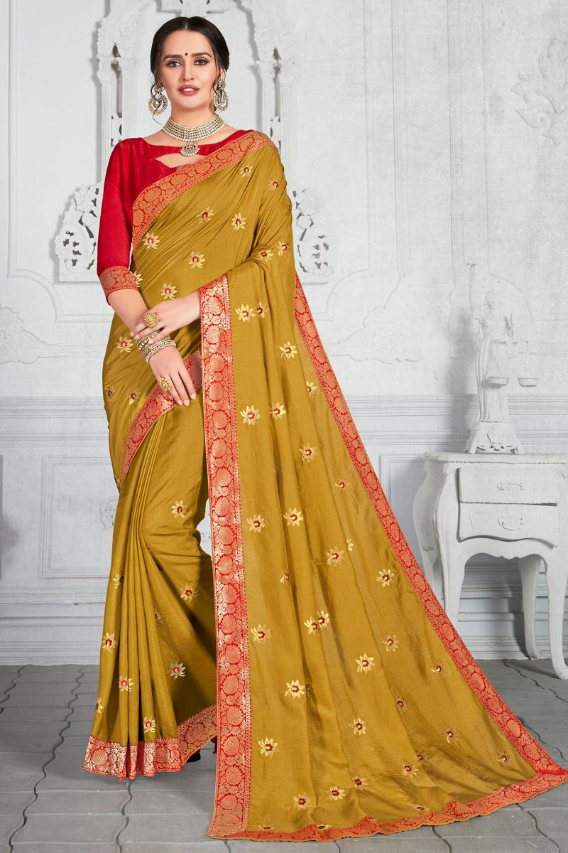 Function Wear Mustard Color Embroidery Work Saree In Art Silk Fabric