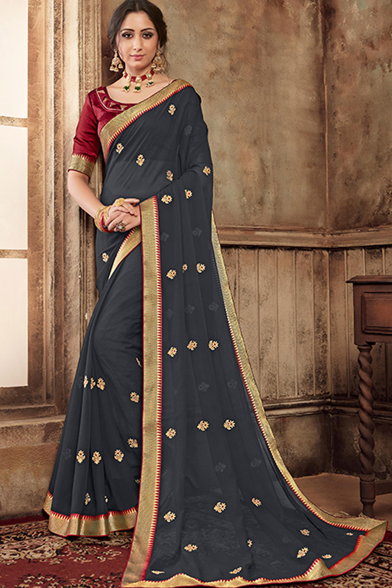 Grey Color Party Wear Saree In Chiffon Fabric With Lace Work And Beautiful Blouse