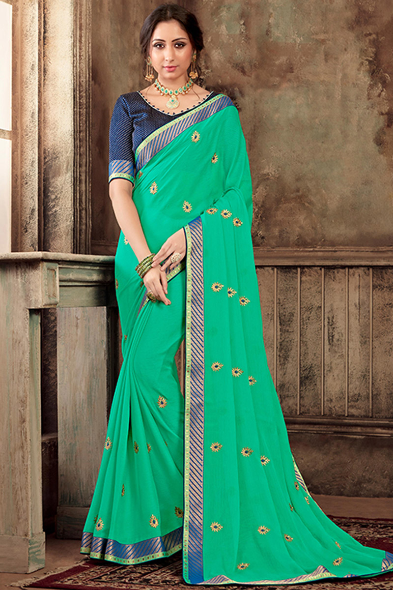 Occasion Wear Chiffon Fabric Lace Work Saree In Light Teal Color With Designer Blouse